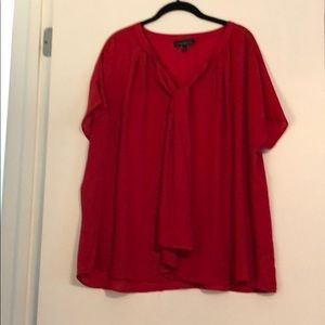 Red short sleeve blouse with tie front